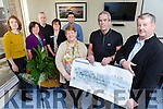 O'Shea Family Present a cheque for €6,500 to the diabetes day unit at University Hospital Kerry in Memory of Denis O'Shea, Funds raised by a Christmas swim in Cromane. Pictured front l-r Kathleen O'Shea, Dr. Tom Higgins, James O'Shea. Back l-r Roisin O'Shea, Helen Crowley, Shane Flynn, Marie Nolan, Desmond O'Shea
