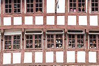 Half-timbered antique shop in Nedergade in Odense on Funen Island, Denmark