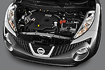 High Angle Engine Detail view of 2011 Nissan Juke SV SUV Stock Photo