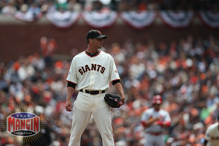 SAN FRANCISCO, CA - APRIL 6:  Ryan Vogelsong #32 of the San Francisco Giants pitches during the game against the St. Louis Cardinals on Saturday, April 6, 2013 at AT&T Park in San Francisco, California. Photo by Brad Mangin