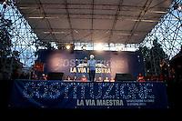 Stefano Rodota' <br /> Roma 12-10-2013 Piazza del Popolo. Manifestazione in difesa della costituzione dal titolo: Manifestazione Roma <br /> 'Costituzione, la via maestra'.<br /> Demostration to defend the italian constitution titled Constitution the main road<br /> Photo Samantha Zucchi Insidefoto