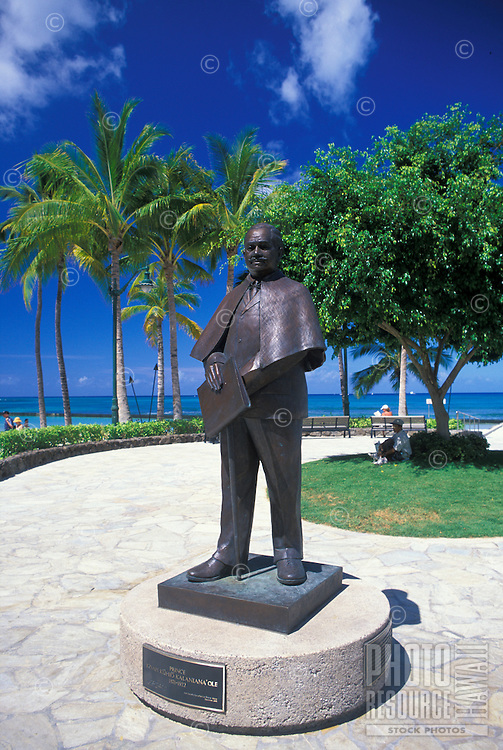 Statue of Prince Jonah Kuhio Kalanianaole stands along the Waikiki Historic Trail next to Waikiki Beach.