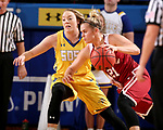 BROOKINGS, SD - DECEMBER 6: Madison Guebert #11 from South Dakota State applies pressure to Gabbi Ortiz #21 from Oklahoma during their game Wednesday night at Frost Arena in Brookings. (Photo by Dave Eggen/Inertia)