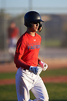 Sammy Leyba (46), from Odessa, Texas, while playing for the Red Sox during the Under Armour Baseball Factory Recruiting Classic at Red Mountain Baseball Complex on December 29, 2017 in Mesa, Arizona. (Zachary Lucy/Four Seam Images)