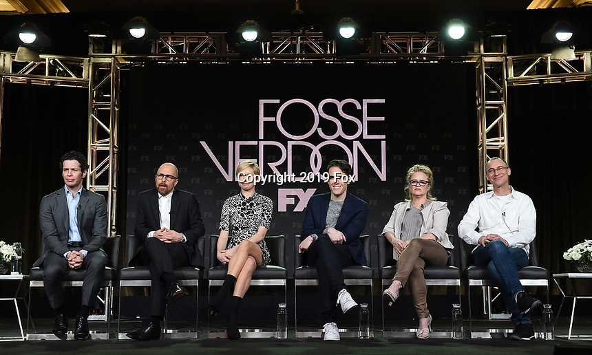 PASADENA, CA - FEBRUARY 4: (L-R) EP/Director Thomas Kail, EP/Cast Member Sam Rockwell, EP/Cast Member Michelle Williams, EP/Writer Steven Levenson, and Co-EP/Key Creative Consultant Nicole Fosse, EP/Writer Joel Fields during the FOSSE / VERDON panel for the 2019 FX Networks Television Critics Association Winter Press Tour at The Langham Huntington Hotel on February 4, 2019 in Pasadena, California. (Photo by Frank Micelotta/FX/PictureGroup)