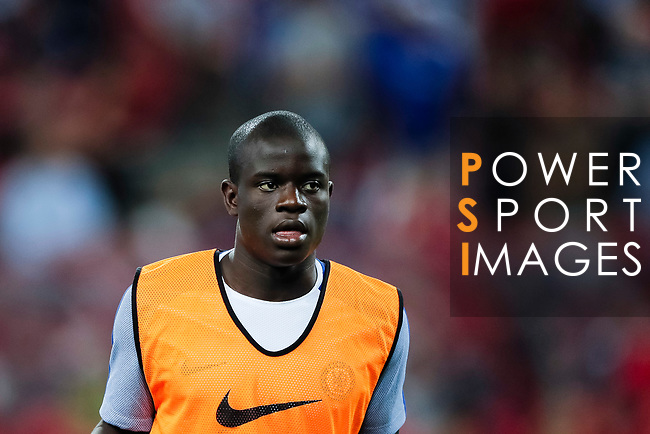 Chelsea Midfielder N'Golo Kante warming up during the International Champions Cup match between Chelsea FC and FC Bayern Munich at National Stadium on July 25, 2017 in Singapore. Photo by Marcio Rodrigo Machado / Power Sport Images