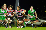 Tim Nanai Williams steps out of Michael Fitzgeralds tackle. ITM Cup rugby game between Counties Manukau and Manawatu played at Bayer Growers Stadium on Saturday August 21st 2010..Counties Manukau won 35 - 14 after leading 14 - 7 at halftime.