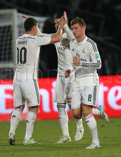 20.12.2014. Marrakesh, Morocco. FIFA World Club Cup. Final. Real Madrid versus San Lorenzo. Real Madrid defender Sergio Ramos (4) and Real Madrid midfielder James Rodriguez (10) celebrate the first goal.