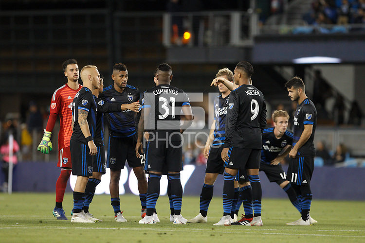 San Jose, CA - Saturday October 06, 2018: San Jose Earthquakes  during a Major League Soccer (MLS) match between the San Jose Earthquakes and the New York Red Bulls at Avaya Stadium.