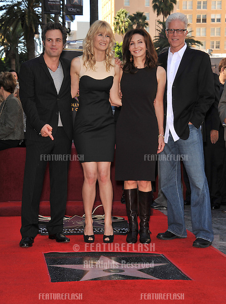 Laura Dern with Mark Ruffalo (left, Ted Danson & Mary Steenburgen on Hollywood Boulevard where, together with her parents Bruce Dern & Diane Ladd, she was honored with a star on the Hollywood Walk of Fame. This was the first time in history that three stars from the same Hollywood family dynasty of actors was honored at the same time..The Hollywood Walk of Fame is celebrating its 50th anniversary this month..November 1, 2010  Los Angeles, CA.Picture: Paul Smith / Featureflash