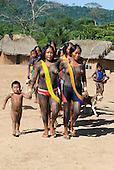 Pará State, Brazil. Aldeia Pukararankre (Kayapo). Women dancing.