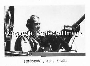 Alfred 'Boss' Bonosconi of Bombing Squadron 85 (VB-85) in a Curtiss SB2C Helldiver - He was killed July 18, 1945 during the battle with Japanese ship Nagato. First and only U.S.S. Shangri-La (CV 38) man burried at sea the next day on July 19, 1945.