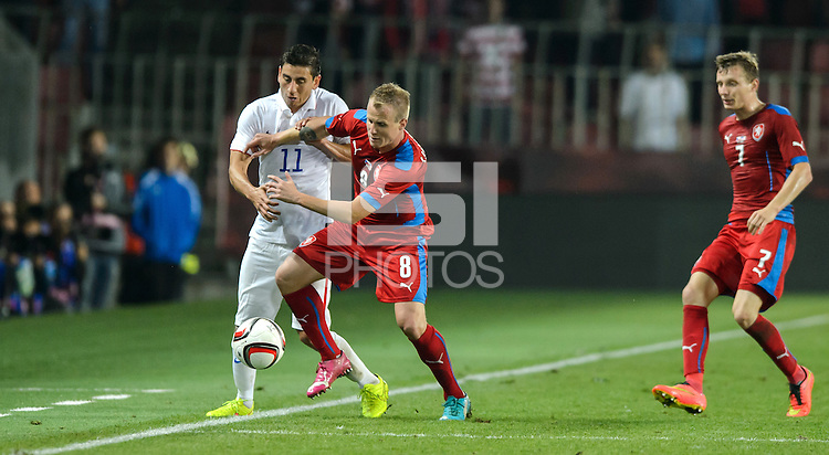 PRAGUE, Czech Republic - September 3, 2014: USA's Alejandro Bedoya and David Limbersky of the Czech Republic during the international friendly match between the Czech Republic and the USA at Generali Arena.