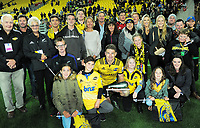 Hurricanes centurion Beauden Barrett with his family after the Super Rugby match between the Hurricanes and Crusaders at Westpac Stadium in Wellington, New Zealand on Saturday, 10 March 2018. Photo: Dave Lintott / lintottphoto.co.nz