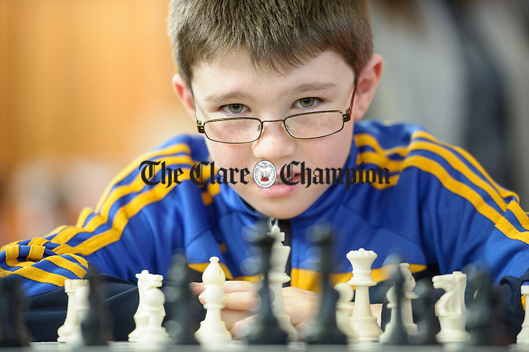 Ronan Kilroy of Ennis competing at the Clare Community games chess county finals in St Flannan's college, Ennis. Photograph by John Kelly.