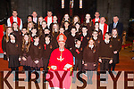 Pupils from the Lisivigeen NS Killarney with Bishop Ray Browne and Michael McAulliffe principal and John O'Donoghue teacher at their Confirmation in St Mary's Cathedral on Friday