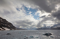 View of the Chugach mountains and Harriman fjord from Surprise Inlet, Prince William Sound, Alaska.