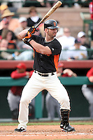 Aaron Rowand #33 of the San Francisco Giants bats against the Arizona Diamondbacks in the first spring training game of the season at Scottsdale Stadium on February 25, 2011  in Scottsdale, Arizona. .Photo by:  Bill Mitchell/Four Seam Images.