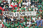 24 June 2007:  Mexico fans hold up signs advertising the Univision network. The United States Men's National Team defeated the national team of Mexico 2-1 in the CONCACAF Gold Cup Final at Soldier Field in Chicago, Illinois.