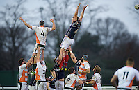 Will Carrick-Smith of London Scottish Football Club and Carwyn Jones of Ealing Trailfinders both miss the ball in the line out during the Greene King IPA Championship match between London Scottish Football Club and Ealing Trailfinders at Richmond Athletic Ground, Richmond, United Kingdom on 26 December 2015. Photo by Alan  Stanford / PRiME Media Images