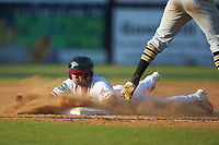 Carlos Baerga Jr. (2) of the Danville Braves dives head-first into third base after hitting a triple against the Bristol Pirates at American Legion Post 325 Field on July 1, 2018 in Danville, Virginia. The Braves defeated the Pirates 3-2 in 10 innings. (Brian Westerholt/Four Seam Images)
