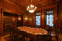 Private dining room in the Mount Stephen Hotel, opened 1st May 2017, in George Stephen House, built 1880-1883 in Italian Renaissance style as a mansion for George Stephen, 1st Baron Mount Stephen, 1829–1921, formerly the Mount Stephen Club, a gentleman's club, on Drummond St in the Golden Square Mille district, Ville-Marie, Montreal, Quebec, Canada. Picture by Manuel Cohen