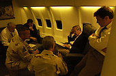 United States Secretary of Defense Donald H. Rumsfeld is briefed by his staff on September 3, 2003, prior to arriving in Iraq.                                <br /> Mandatory Credit: Andy Dunaway / DoD via CNP