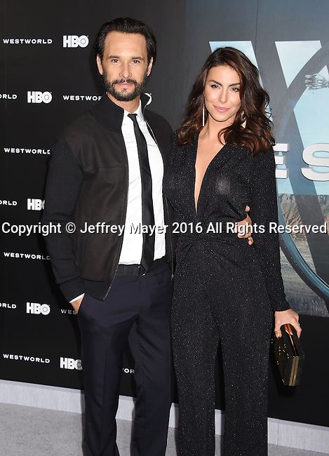 HOLLYWOOD, CA - SEPTEMBER 28: Actor Rodrigo Santoro (L) and actress/model Melanie Fronckowiak attend the premiere of HBO's 'Westworld' at TCL Chinese Theater on September 28, 2016 in Hollywood, California.