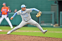 North Carolina Tar Heels pitcher Joey Lancellotti (31) delivers a pitch during a game against the Clemson Tigers at Doug Kingsmore Stadium on March 9, 2019 in Clemson, South Carolina. The Tigers defeated the Tar Heels 3-2 in game one of a double header. (Tony Farlow/Four Seam Images)