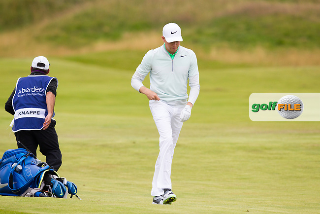 Alexander Knappe (GER) on the 18th during round 2 of the Aberdeen Asset Management Scottish Open 2017, Dundonald Links, Troon, Ayrshire, Scotland. 14/07/2017.<br /> Picture Fran Caffrey / Golffile.ie<br /> <br /> All photo usage must carry mandatory copyright credit (&copy; Golffile | Fran Caffrey)