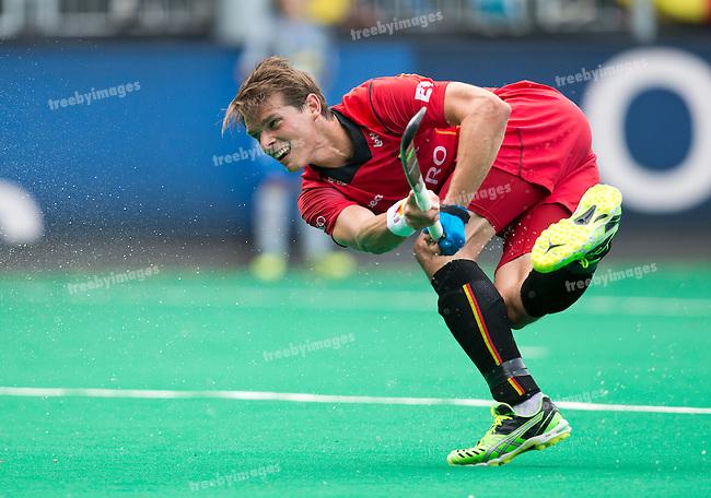 21/06/2015<br /> HWL Semi Final Antwerp Belgium 2015<br /> Great Britain v Belgium Men<br /> Felix denier of Belgium<br /> Photo: Grant Treeby