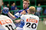 BHCs Linus Arnesson (Nr.24) im Zweikampf mit Leipzigs Philipp Weber (Nr.20)  im Spiel der Handballliga, Bergischer HC - SC DHFK Leipzig.<br /> <br /> Foto &copy; PIX-Sportfotos *** Foto ist honorarpflichtig! *** Auf Anfrage in hoeherer Qualitaet/Aufloesung. Belegexemplar erbeten. Veroeffentlichung ausschliesslich fuer journalistisch-publizistische Zwecke. For editorial use only.