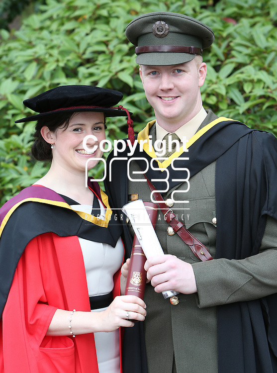 24/8/2014  With Compliments.  Attending the University of Limerick conferrings on Tuesday afternoon were Dr Laura-Ann Furlong,  conferred with a PHD and Lt Patrick Molloy awarded a BSc in Sport &amp; Exercise Sciences both from Ballycumber, Offaly.<br /> Picture Liam Burke/Press 22