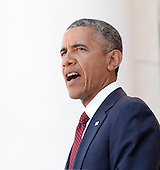 United States President Barack speaks during a Memorial Day event at Arlington National Cemetery, May 25, 2015 in Arlington, Virginia. <br /> Credit: Olivier Douliery / Pool via CNP