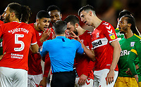 Middlesbrough's Daniel Ayala reacts after referee Keith Stroud showed him the  red card<br /> <br /> Photographer Alex Dodd/CameraSport<br /> <br /> The EFL Sky Bet Championship - Middlesbrough v Preston North End - Wednesday 13th March 2019 - Riverside Stadium - Middlesbrough<br /> <br /> World Copyright &copy; 2019 CameraSport. All rights reserved. 43 Linden Ave. Countesthorpe. Leicester. England. LE8 5PG - Tel: +44 (0) 116 277 4147 - admin@camerasport.com - www.camerasport.com