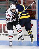 Braden Pimm (Northeastern - 14), Karl Stollery (Merrimack - 7) - The visiting Merrimack College Warriors defeated the Northeastern University Huskies 4-3 (OT) on Friday, February 4, 2011, at Matthews Arena in Boston, Massachusetts.