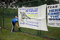 Kansas City, MO - Friday May 13, 2016: A fan from the KC Blue Crew hangs a sign for FC Kansas City midfielder Jen Buczkowski (6) who is is retiring after this regular season National Women's Soccer League (NWSL) match against the Chicago Red Stars at Swope Soccer Village.