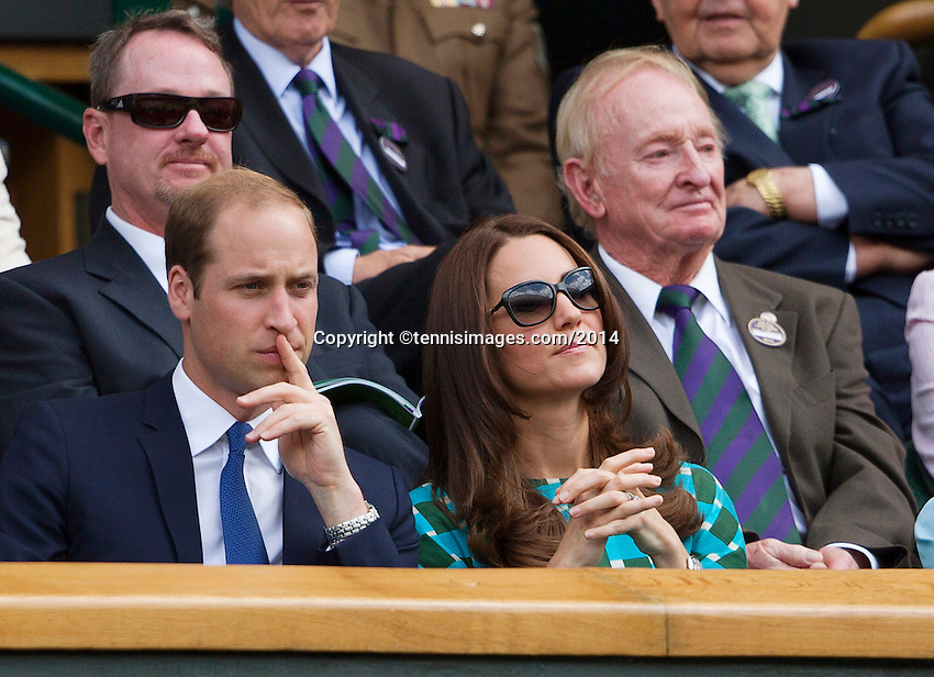 July 6, 2014, UK, London, Tennis, Wimbledon, AELTC, Men's Singles Final:  Novak Djokovic (SRB) vs Roger Federer (SUI), Pictured: In the Royal Box Prins William and his wife Kate in the back richt Rod Laver<br />