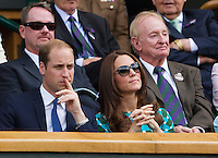 July 6, 2014, UK, London, Tennis, Wimbledon, AELTC, Men's Singles Final:  Novak Djokovic (SRB) vs Roger Federer (SUI), Pictured: In the Royal Box Prins William and his wife Kate in the back richt Rod Laver<br /> Photo: Tennisimages/Henk Koster