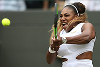 Serena Williams (USA) during her match against Julia Goerges (GER) in their Ladies' Singles Third Round match<br /> <br /> Photographer Rob Newell/CameraSport<br /> <br /> Wimbledon Lawn Tennis Championships - Day 6 - Saturday 6th July 2019 -  All England Lawn Tennis and Croquet Club - Wimbledon - London - England<br /> <br /> World Copyright © 2019 CameraSport. All rights reserved. 43 Linden Ave. Countesthorpe. Leicester. England. LE8 5PG - Tel: +44 (0) 116 277 4147 - admin@camerasport.com - www.camerasport.com