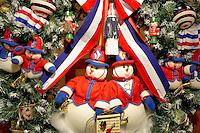 Christmas wreath with American flag theme. Providence Festival of Trees. Portland. Oregon