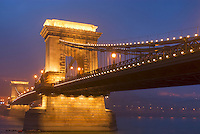 Chain Bridge and Danube river at night, Budapest