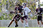 Los Angeles, CA 03/08/10 - Stewart Lundeen (FSU # 22) and Marc Napp (LMU # 1) in action during the Florida State-LMU MCLA interconference men's lacrosse game at Leavey Field (LMU).  Florida State defeated LMU 12-7.