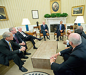 United States President Barack Obama and Vice President Joe Biden meet with members of the U.S. House Democratic Leadership.  From left to right: U.S. Representative Steve Israel (Democrat of New York), U.S. Representative Chris Van Hollen (Democrat of Maryland), U.S. House Democratic Whip Steny Hoyer (Democrat of Maryland), Vice President Biden, President Obama, U.S. House Democratic Leader Nancy Pelosi (Democrat of California),  U.S. House Assistant Democratic Leader James Clyburn (Democrat of South Carolina), U.S. Representative Xavier Becerra (Democrat of California), and U.S. Representative Joseph Crowley (Democrat of New York).<br /> Credit: Ron Sachs / Pool via CNP