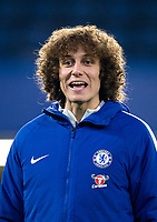 David Luiz of Chelsea during the pre match warm ups ahead of the Carabao Cup semi final 1st leg match between Chelsea and Arsenal at Stamford Bridge, London, England on 10 January 2018. Photo by Andy Rowland.
