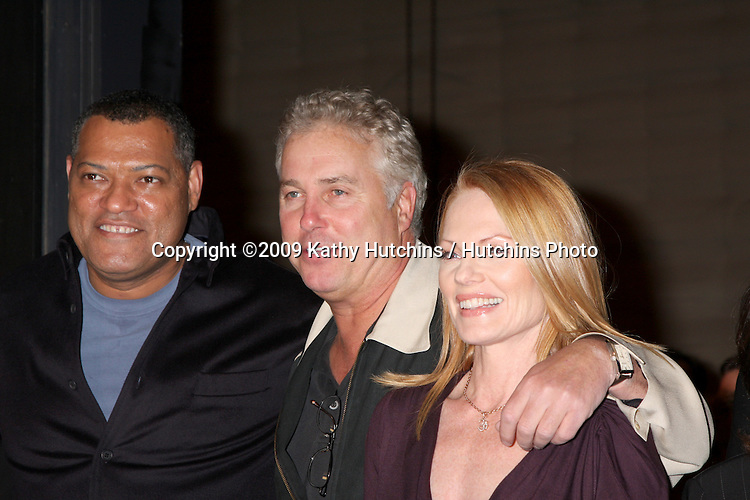 Lawrence Fishburne, William Petersen, and Marg Helgenberger  at the 200th Episode Celebration of CSI (LasVegas) at the CSI set on Universal Backlot in Los Angeles, CA on .February 10, 2009.©2009 Kathy Hutchins / Hutchins Photo..                .