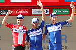 Quick-Step Floors lead the team classification at the end of Stage 7 of the La Vuelta 2018, running 185.7km from Puerto Lumbreras to Pozo Alc&oacute;n, Spain. 31st August 2018.<br /> Picture: Unipublic/Photogomezsport | Cyclefile<br /> <br /> <br /> All photos usage must carry mandatory copyright credit (&copy; Cyclefile | Unipublic/Photogomezsport)