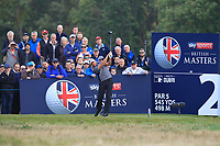 Chris Hanson (ENG) on the 2nd tee during Round 3 of the Sky Sports British Masters at Walton Heath Golf Club in Tadworth, Surrey, England on Saturday 13th Oct 2018.<br /> Picture:  Thos Caffrey | Golffile