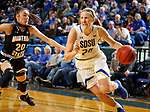 BROOKINGS, SD - NOVEMBER 21: South Dakota State Jackrabbits forward Tori Nelson #20 drivers against Montana State Bobcats guard Madison Jackson #20 during their game Thursday night at Frost Arena in Brookings, SD.  (Photo by Dave Eggen/Inertia)