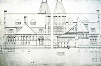 H.H. Richardson: Winn Library plan, Woburn, MA. 1876-79. National Historic Landmark, 1987